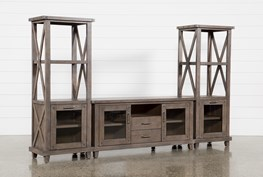 Jaxon Grey 3 Piece Entertainment Center With 68 Inch TV Stand With Glass Doors