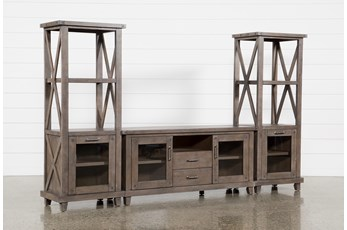 Jaxon Grey 3 Piece Entertainment Center With 68 Inch TV Stand