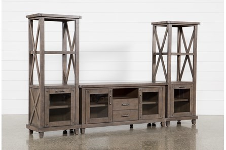 Jaxon Grey 3 Piece Entertainment Center With 68 Inch TV Stand - Main
