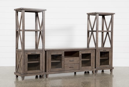 Jaxon Grey 3 Piece Entertainment Center With 68 Inch TV Stand With Glass Doors - Main