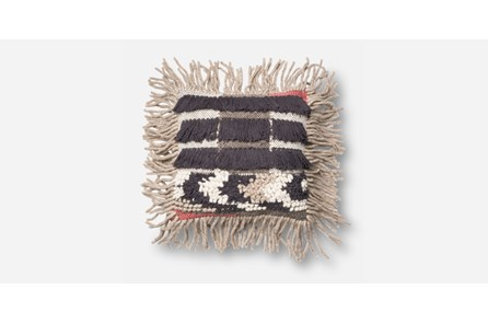 Accent Pillow-Black/Multi Fringe 16X16