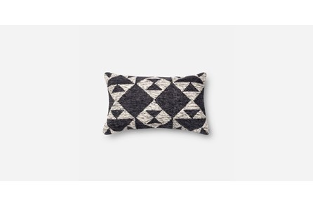 Accent Pillow-Charcoal/Ivory Diamons 12X20