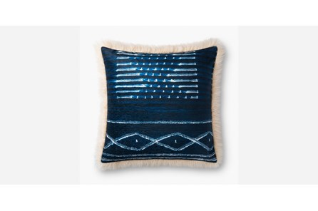 Accent Pillow-Blue/Ivory Mudcloth With Fur 22X22
