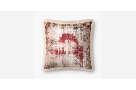 Accent Pillow-Red/Ivory Mudcloth With Fur 22X22