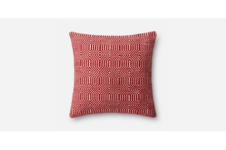 Accent Pillow-Red/Ivory Geo 20X20