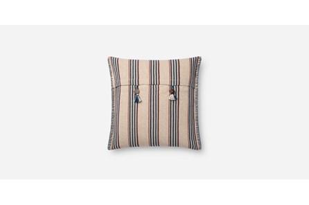 Accent Pillow-Indigo/Natural Stripe Button 19X19