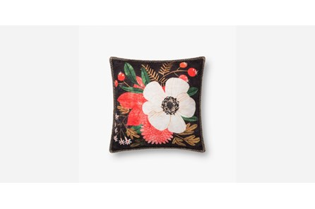 Accent Pillow-Red/Ivory Flowers On Black 18X18