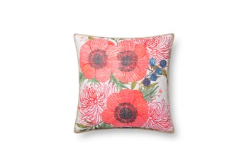 Accent Pillow-Spring Flowers On White 18X18