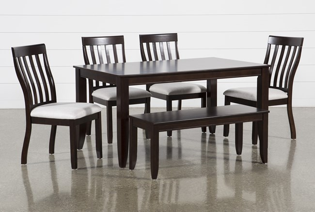 Rancho Brown Rectangle 6 Piece Dining Set - 360