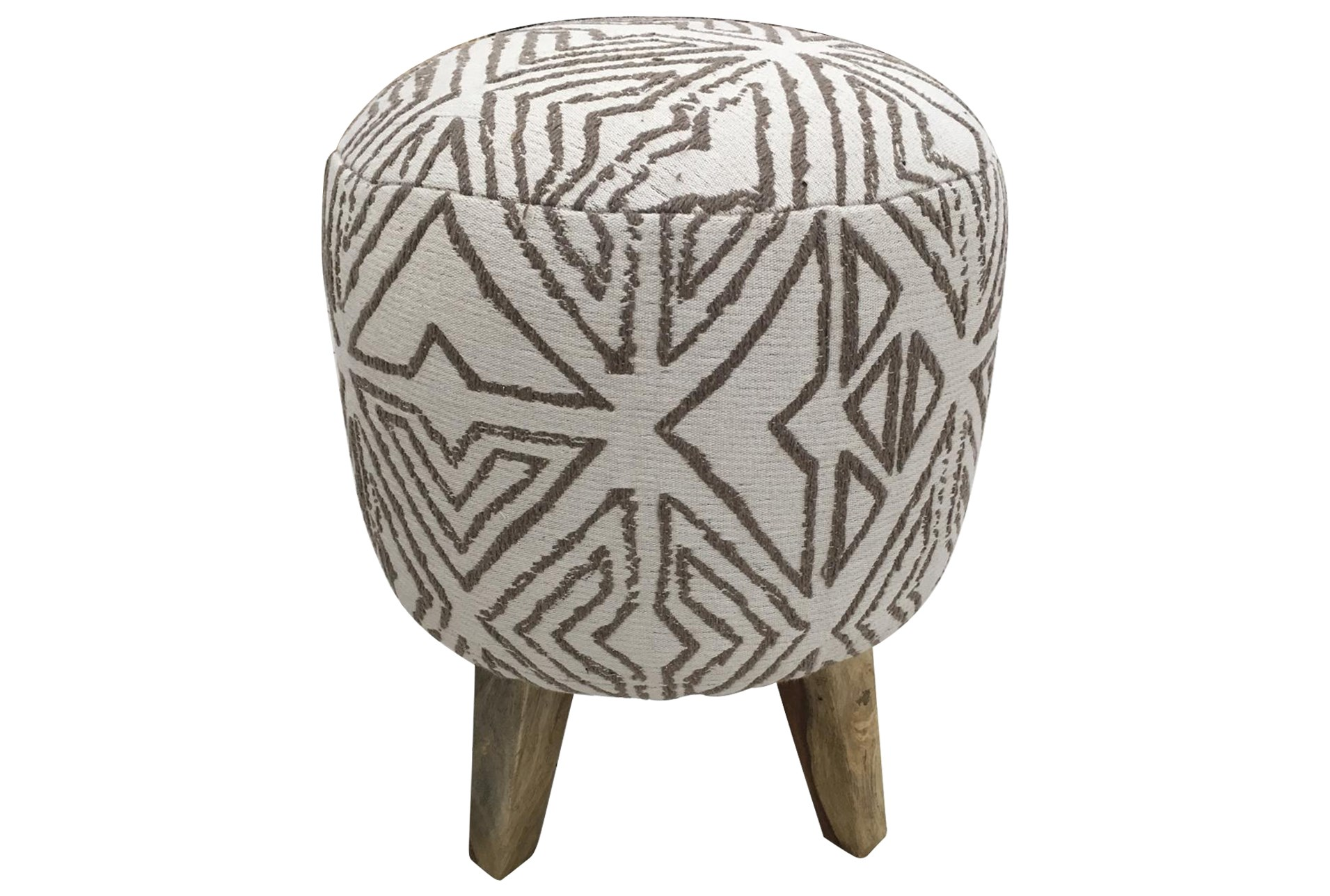 White Grey Pattern Pouf Living Spaces