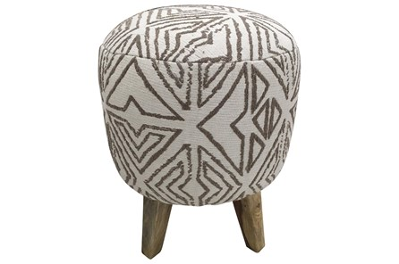 White + Grey Pattern Pouf