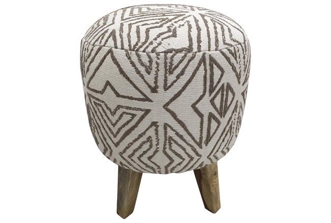 White + Grey Pattern Pouf  - 360