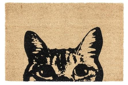 36X24 Doormat-Curious Cat Black