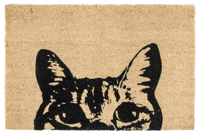 36X24 Doormat-Curious Cat Black - 360