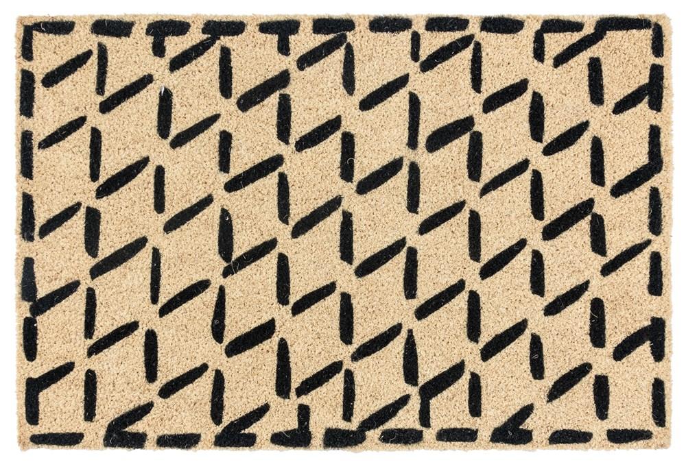 36X24 Doormat-Brushstroke Diamonds Black