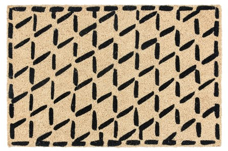 36X24 Doormat-Brushstroke Diamonds Black