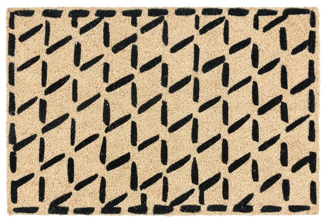 36X24 Doormat-Brushstroke Diamonds Black - 360
