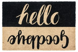 36X24 Doormat-Hello Goodbye Black