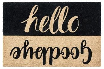 36X24 Doormat-Hello Goodbye Black