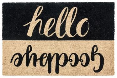 3'x2' Doormat-Hello Goodbye Black
