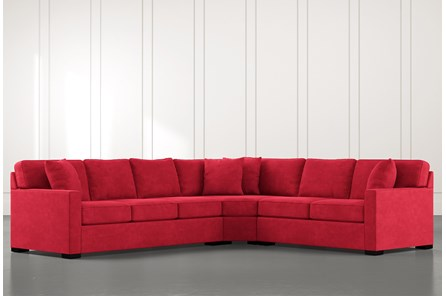 Alder Red 3 Piece Sectional with Right Arm Facing Loveseat