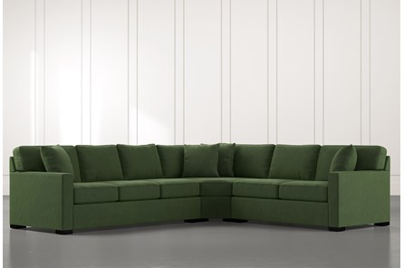 Alder Green 3 Piece Sectional with Right Arm Facing Loveseat