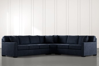 Alder Navy Blue 3 Piece Sectional with Right Arm Facing Loveseat