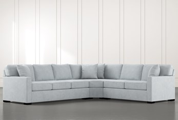 Alder Light Blue 3 Piece Sectional with Right Arm Facing Loveseat