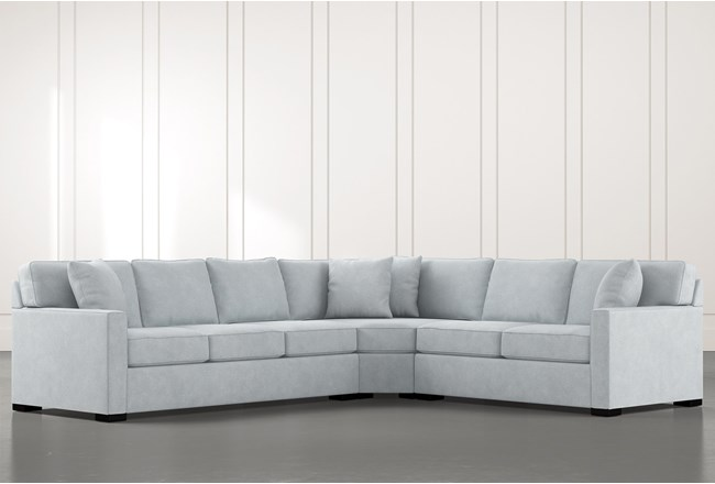 Alder Light Blue 3 Piece Sectional with Right Arm Facing Loveseat - 360