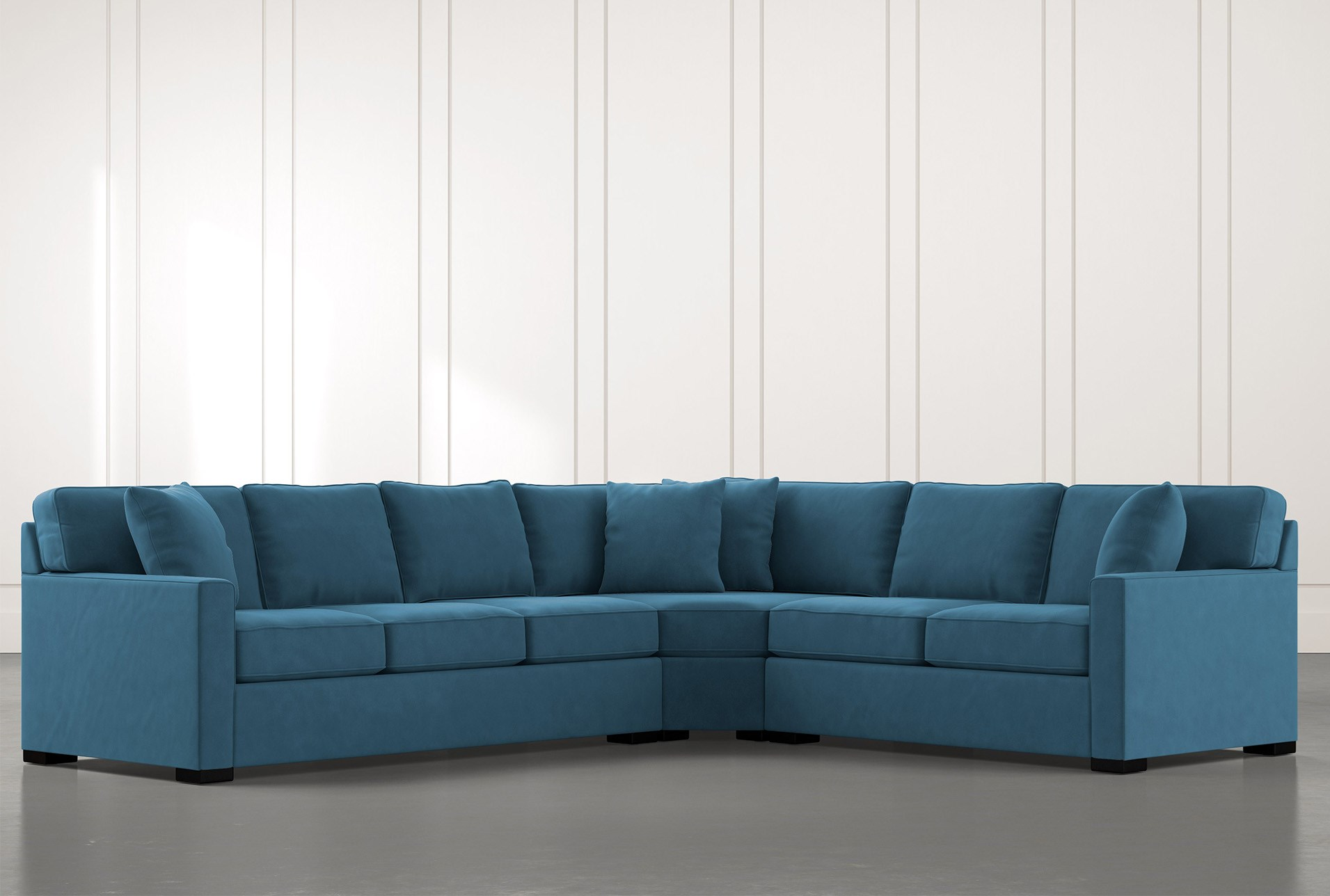 alder teal 3 piece sectional with right arm facing