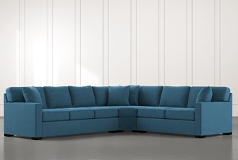 Alder Teal 3 Piece Sectional with Right Arm Facing Loveseat