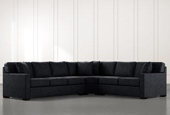 Alder Black 3 Piece Sectional with Right Arm Facing Loveseat