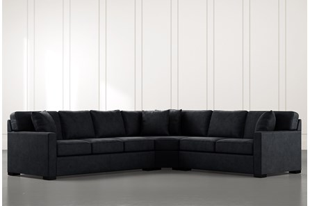 Alder Black 3 Piece Sectional with Right Arm Facing Loveseat - Main