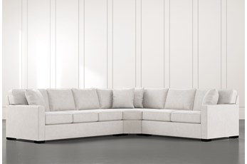 Alder Light Grey 3 Piece Sectional with Right Arm Facing Loveseat