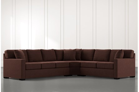 Alder Brown 3 Piece Sectional with Right Arm Facing Loveseat