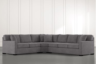 """Alder Foam 3 Piece 125"""" Sectional With Right Arm Facing Sofa"""