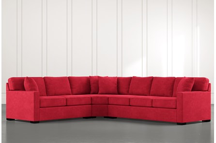 Alder Red 3 Piece Sectional with Left Arm Facing Loveseat