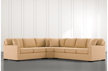 Alder Yellow 3 Piece Sectional with Left Arm Facing Loveseat