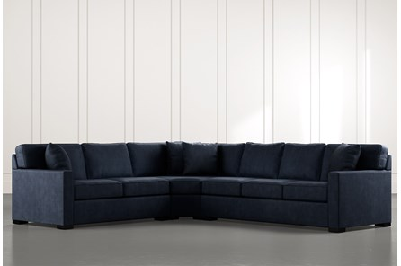 Alder Navy Blue 3 Piece Sectional with Left Arm Facing Loveseat