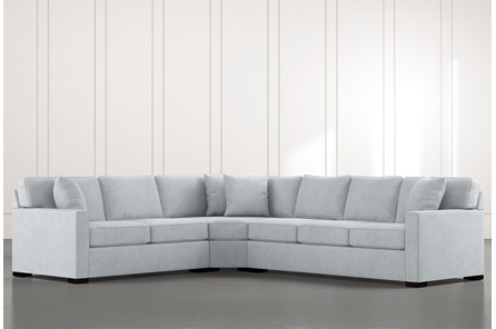 Alder Light Blue 3 Piece Sectional with Left Arm Facing Loveseat