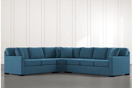 Alder Teal 3 Piece Sectional with Left Arm Facing Loveseat