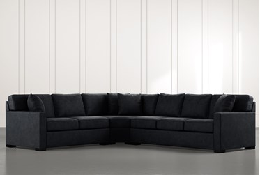 Alder Black 3 Piece Sectional with Left Arm Facing Loveseat