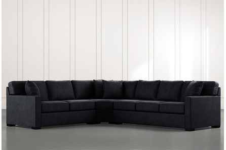 Alder Black 3 Piece Sectional with Left Arm Facing Loveseat - Main