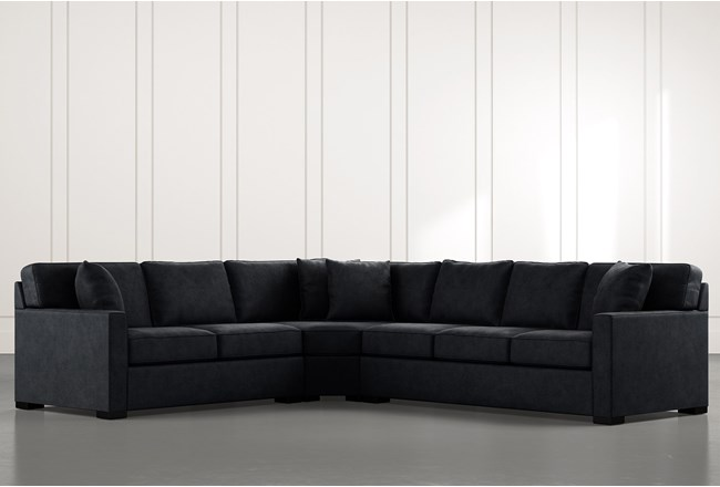 Alder Black 3 Piece Sectional with Left Arm Facing Loveseat - 360
