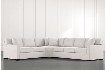 Alder Light Grey 3 Piece Sectional with Left Arm Facing Loveseat - Main