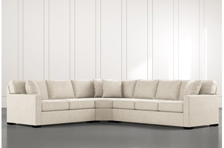 Alder Beige 3 Piece Sectional with Left Arm Facing Loveseat