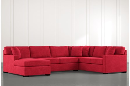 Alder Red 3 Piece Sectional with Left Arm Facing Chaise
