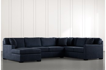Alder Navy Blue 3 Piece Sectional with Left Arm Facing Chaise