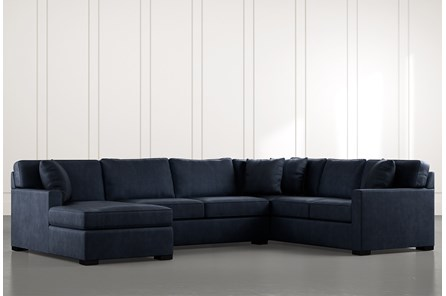 Alder Navy Blue 3 Piece Sectional with Left Arm Facing Chaise - Main