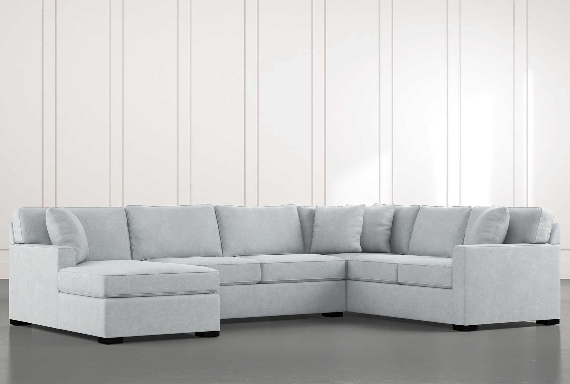 Alder Light Blue 3 Piece Sectional With Left Arm Facing